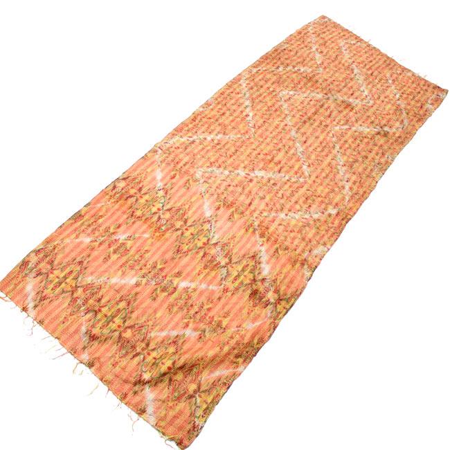 【1点物】インドのカンタ刺繍ショール (214cm×54cm)の写真