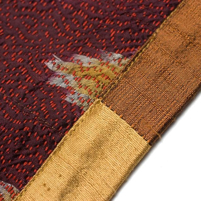 【1点物・インド最高級品】インドのカンタ刺繍ストール 14 - ランニング・ステッチ(刺し子)された生地はしっかりしてとても美しいです。