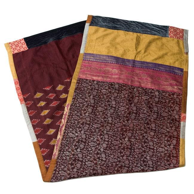 【1点物・インド最高級品】インドのカンタ刺繍ストール 16 - 重ねてみました。リバーシブルなのでどちらの面もお楽しみ頂けます。