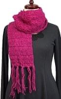 模様編みのシンプルマフラー
