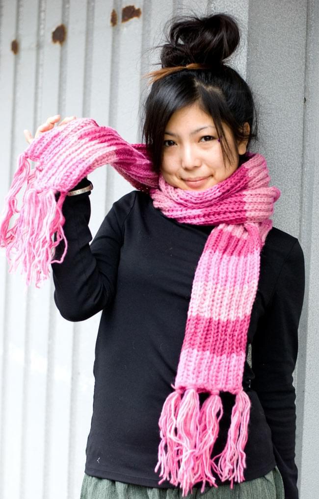 カラフルボーダーレトロマフラー 【ピンク系】 2 - 野外フェスやパーティーで目立つこと間違いなし!