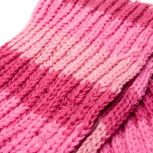 カラフルボーダーレトロマフラー 【ピンク系】 4 - 編み目部分をアップにしてみました。