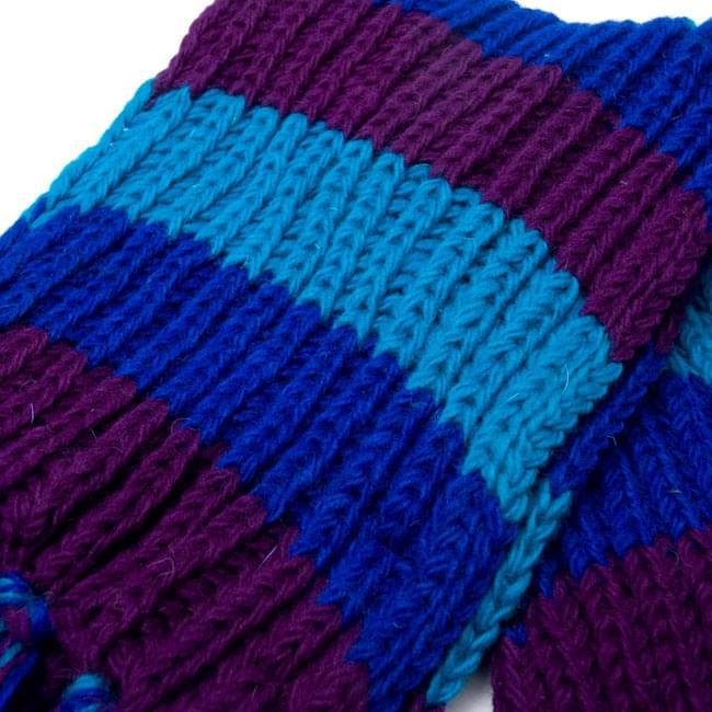 カラフルボーダーレトロマフラー 【ターコイズ×パープル】 4 - 編み目部分をアップにしてみました。