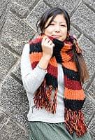 カラフルボーダーレトロマフラー 【オレンジ×黒】