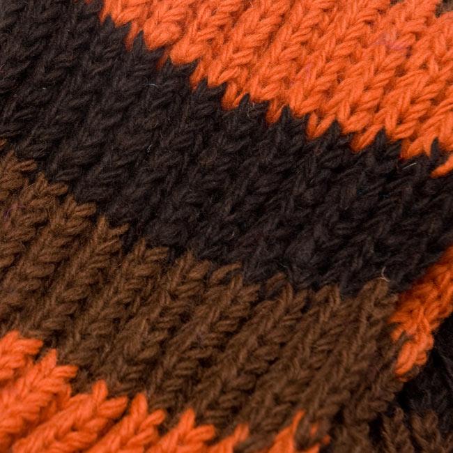 カラフルボーダーレトロマフラー 【オレンジ×茶】 4 - 編み目部分をアップにしてみました。