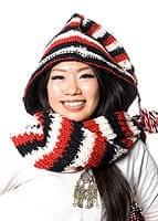 帽子付きカラフルボーダーマフラー 【赤×黒×白】