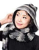 帽子付きカラフルボーダーマフラー 【グレー系】