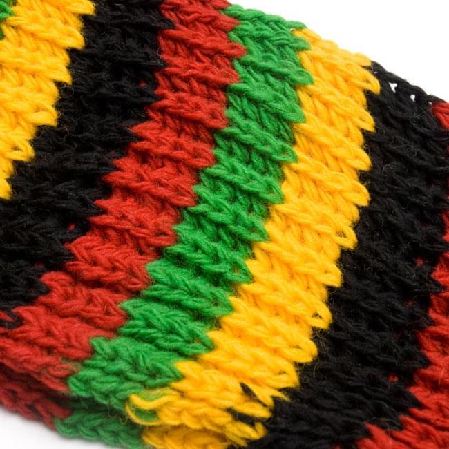 帽子付きカラフルボーダーマフラー 【ラスタ】の写真5 - ざっくり編みはレトロな雰囲気がいいですね。