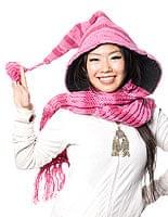 帽子付きカラフルボーダーマフラー 【ピンク系】