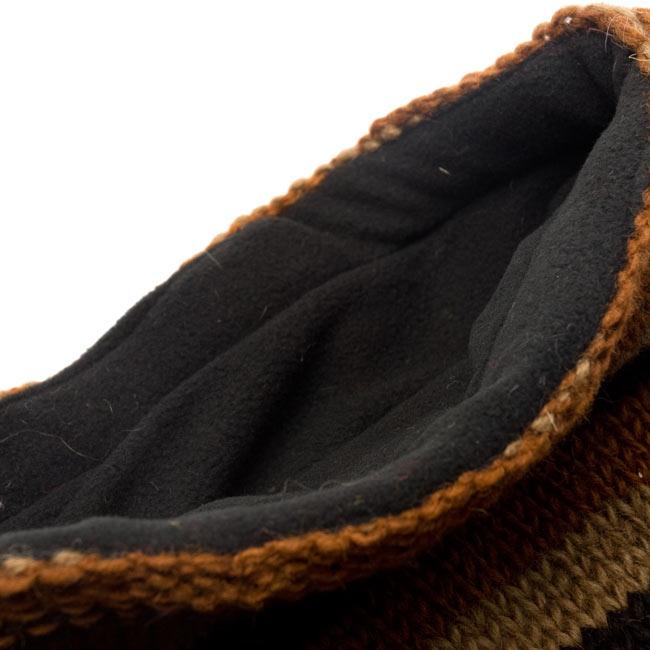 帽子付きカラフルボーダーマフラー 【ブラウン系】 4 - 帽子部分のインナーはフリースで肌触り良いです。