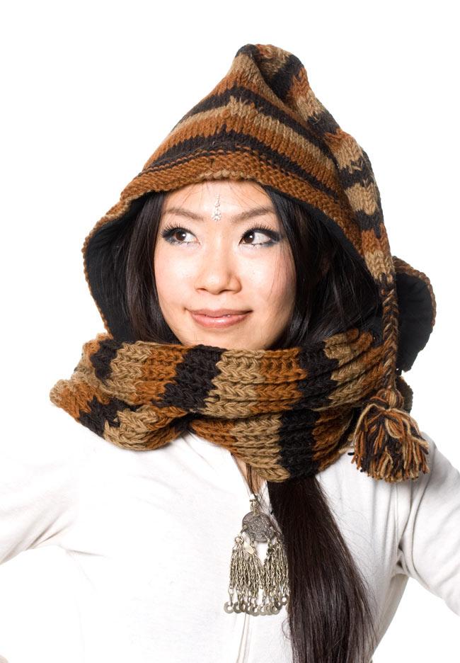 帽子付きカラフルボーダーマフラー 【ブラウン系】の写真