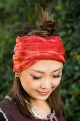 ネパールのカラフルリングターバン - 薄紅色
