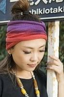 ネパールのカラフルリングターバン - 赤&紫