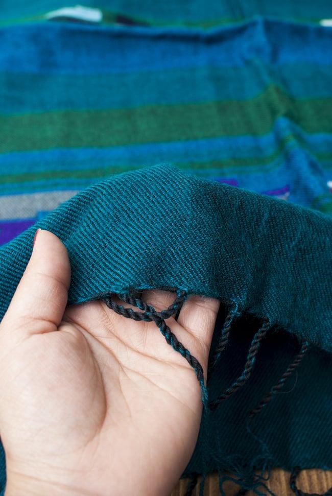 ワイドボーダーの機織りストール - 菱形模様入り 青&緑系 7 - 軽やかで暖かい手触りです。