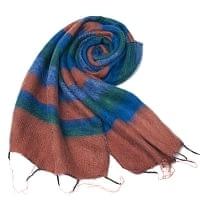 ふんわり起毛のボーダーマフラー - オレンジブラウン&青緑系