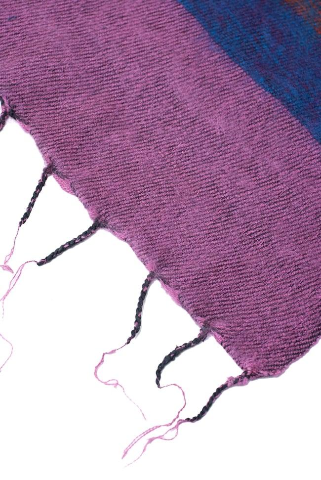 ふんわり起毛のボーダーマフラー - ピンクパープル系 4 - ねじり仕上げのフリンジもおしゃれです。