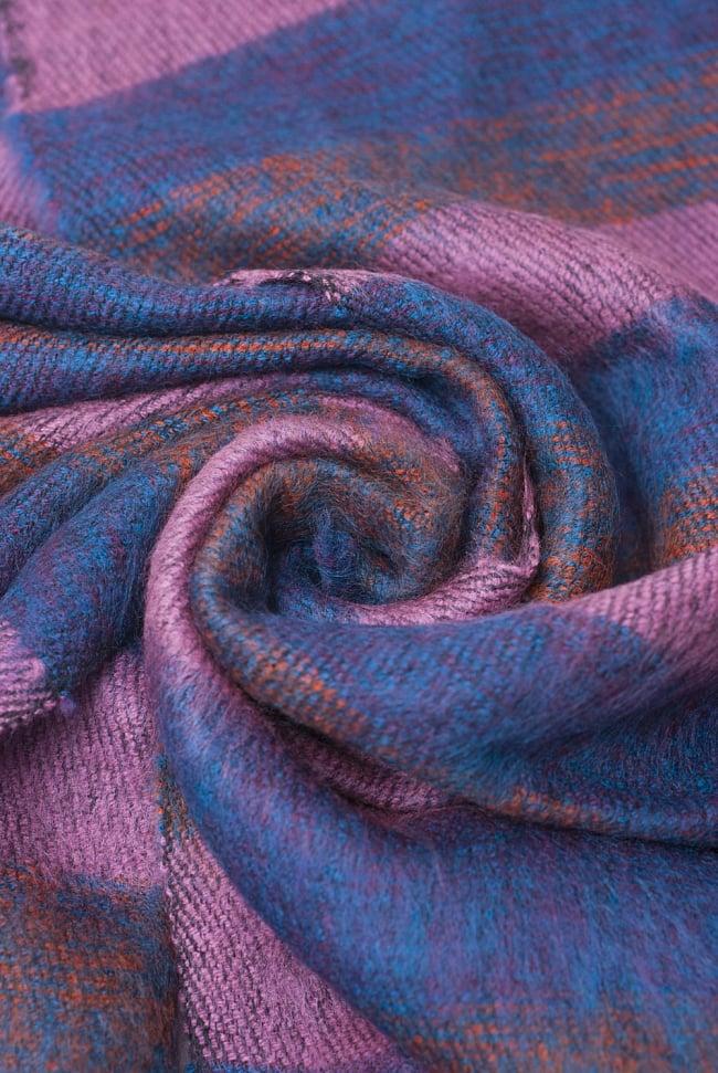 ふんわり起毛のボーダーマフラー - ピンクパープル系 5 - シックな色合いが素敵ですね。