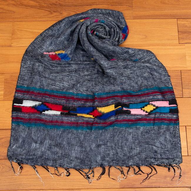 柔らかな起毛で温まる トライバル柄の機織りストール 10 - 3:杢グレー