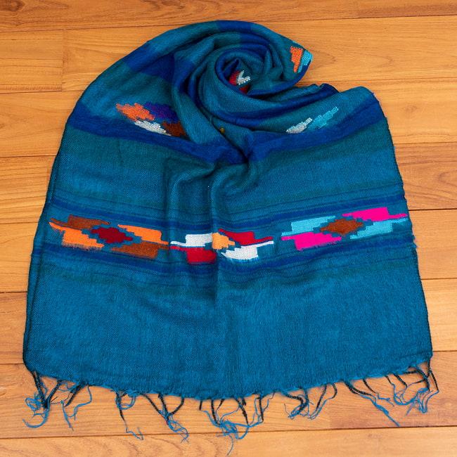 柔らかな起毛で温まる トライバル柄の機織りストール 12 - 5:ブルー
