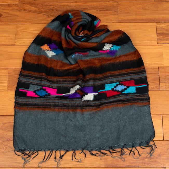柔らかな起毛で温まる トライバル柄の機織りストール 14 - 7:グレー