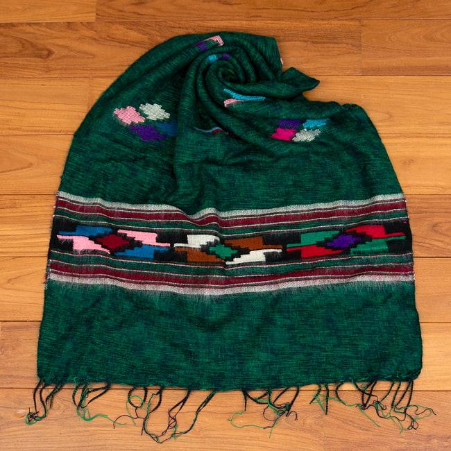 柔らかな起毛で温まる トライバル柄の機織りストール 15 - 8:グリーン