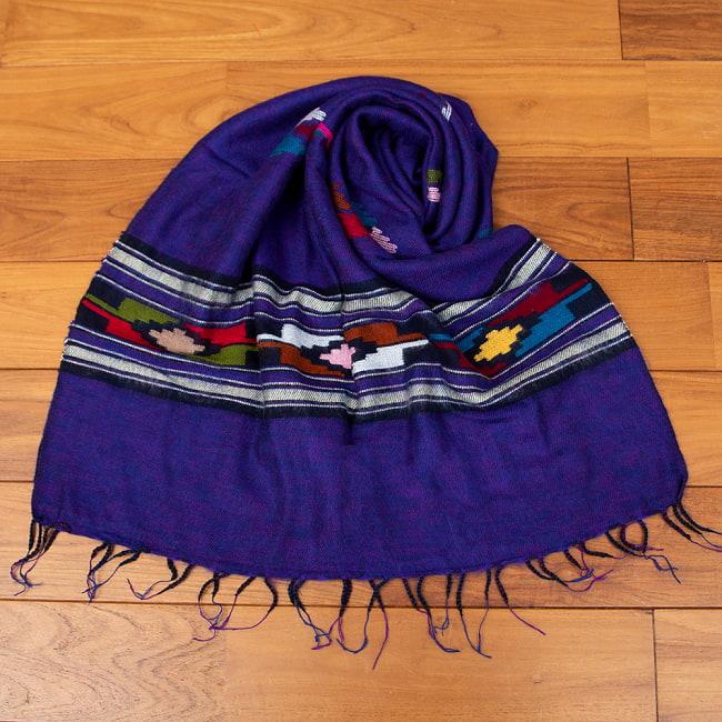 柔らかな起毛で温まる トライバル柄の機織りストール 8 - 1:パープル