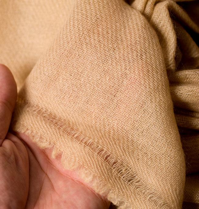 パシュミナ100% 大判手織りストール - ベージュ 6 - 手作りだからこその、機械では作れない一品です。