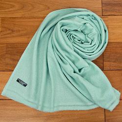 パシュミナ100% 大判手織りストール - 薄緑