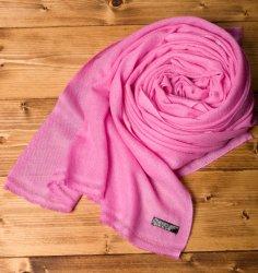 パシュミナ100% 大判手織りストール - ピンク