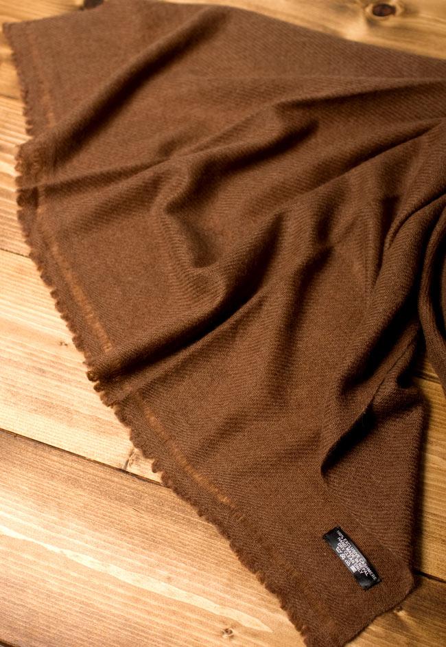 パシュミナ100% 大判手織りストール - ブラウン 5 - 広げてみたところです。ストールやショールなど幅広い用途にお使いいただけます。