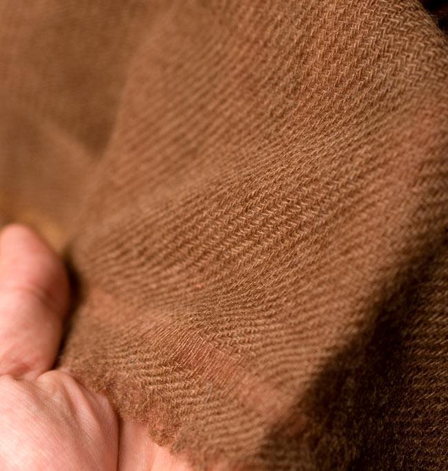 パシュミナ100% 大判手織りストール - ブラウン 6 - 手作りだからこその、機械では作れない一品です。
