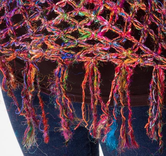 シルク編みベスト - ショート 4 - フリンジもしっかりついています。