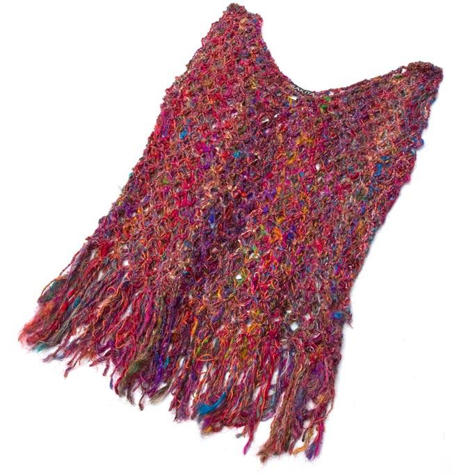 シルク編みベスト - ショート 7 - 広げておいてみました。形がわかりますね。