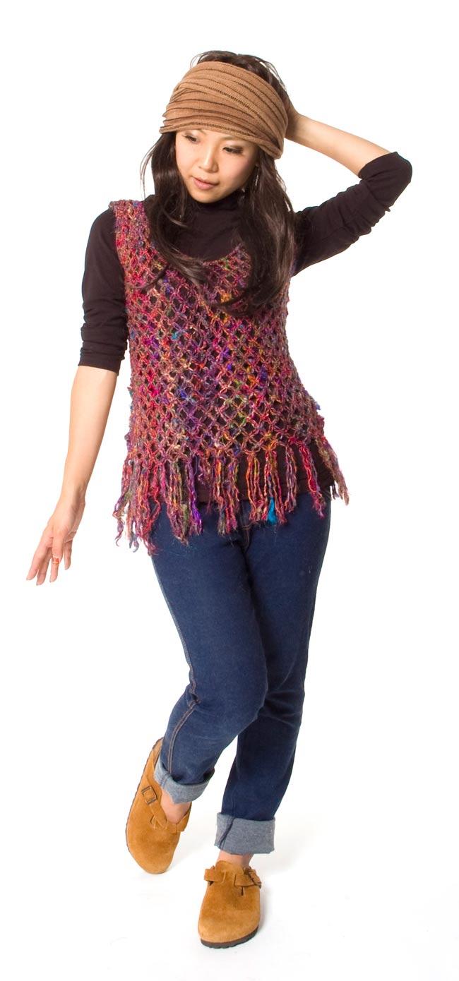 シルク編みベスト - ショートの写真1