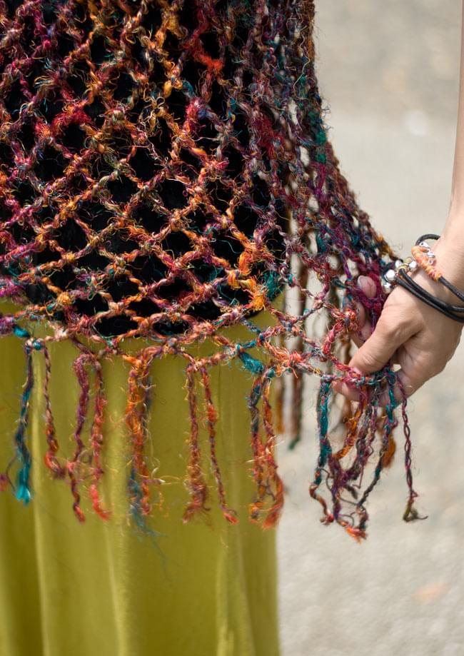 シルク編みベスト-ロング 4 - フリンジもしっかりついています。