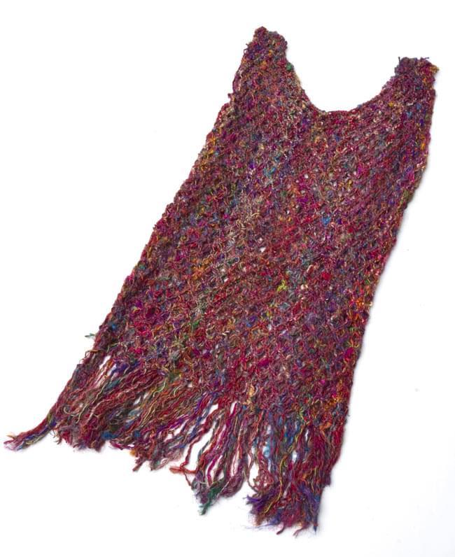 シルク編みベスト-ロング 7 - 広げておいてみました。形がわかりますね。