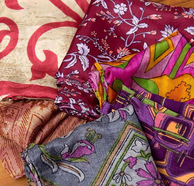 オールドサリーのスカーフ 約50cm×約50cm 8 - こちらはピンク・紫・赤系です