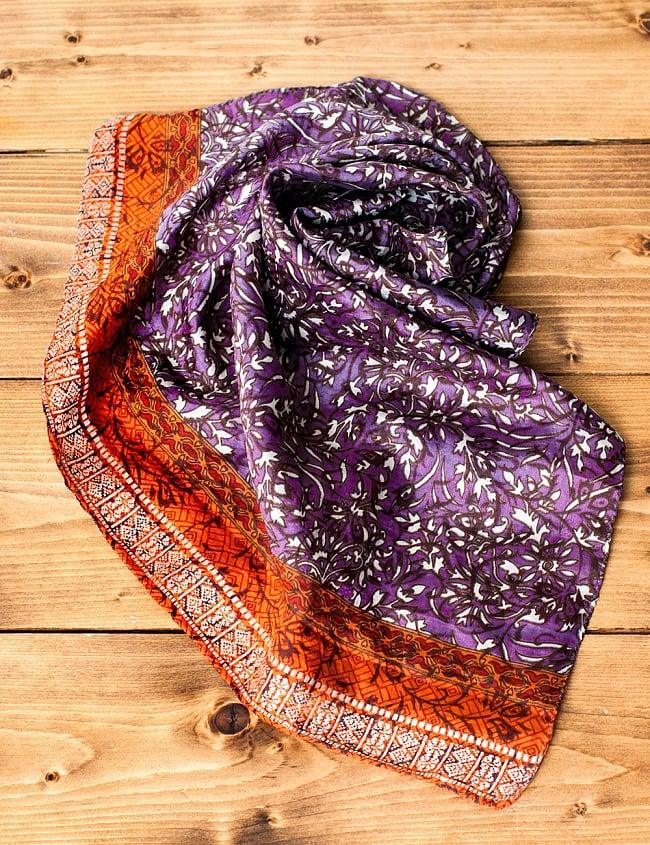 オールドサリーのスカーフ 約55cm×約55cm 【紫系】の写真