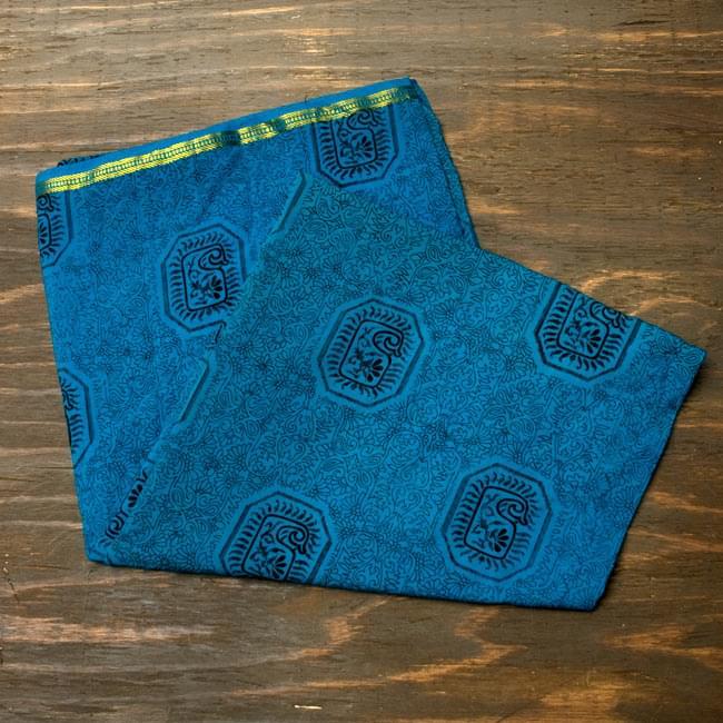 オールドサリーのスカーフ 約105cm×約105cm 【ブルー系】の写真