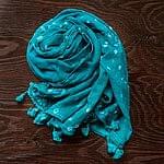 インドの絞り染めドゥパッタ - ブルーグリーン