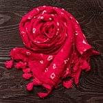 インドの絞り染めドゥパッタ - 赤の商品写真