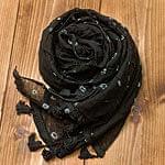 インドの絞り染めドゥパッタ - 黒