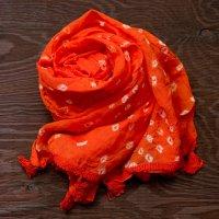 インドの絞り染めドゥパッタ - オレンジ