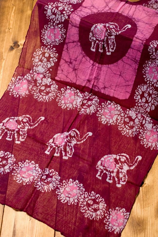 インドのバティック染めスカーフ - えんじ&ピンクの写真