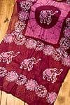 インドのバティック染めスカーフ - えんじ&ピンク