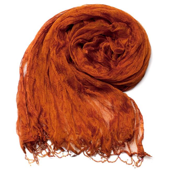 インドの薄ショール クリンクル ドゥパッタ - ブラウン 2 - 鮮やかでビビッドな色彩が綺麗です