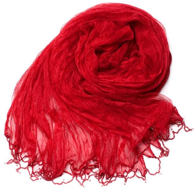インドの薄ショール クリンクル ドゥパッタ - 赤 2 - 鮮やかでビビッドな色彩が綺麗です