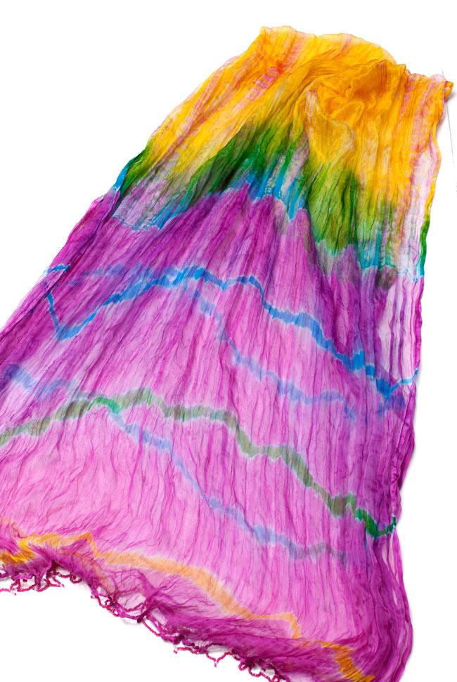 インドの薄ショール クリンクル タイダイドゥパッタ - ピンクの写真
