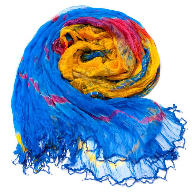 インドの薄ショール クリンクル タイダイドゥパッタ - ブルーの写真2 - 鮮やかでビビッドな色彩が綺麗です