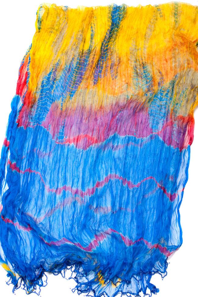 インドの薄ショール クリンクル タイダイドゥパッタ - ブルーの写真